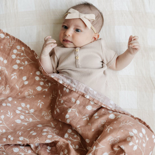 2-Pack Cotton Muslin Swaddles, Simple Buds