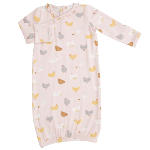 Kimono Gown, Pink Chickens