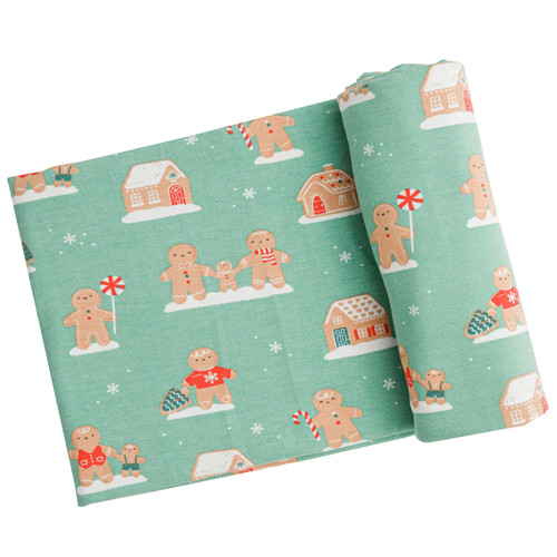 Stretch Swaddle, Green Gingerbread
