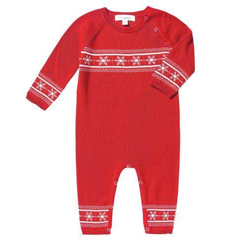 Knit Romper, Holiday Red Snowflake
