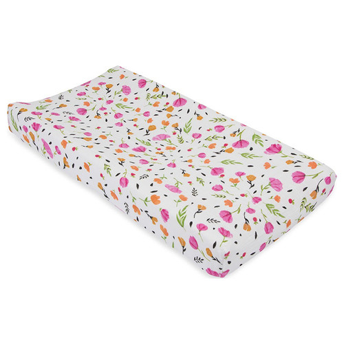 Muslin Changing Pad Cover, Berry & Bloom