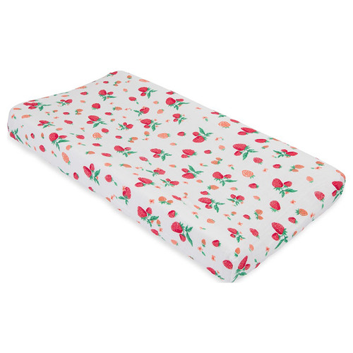 Muslin Changing Pad Cover, Strawberry