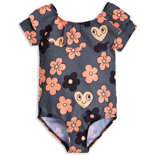 Mini Rodini Flower SS Swimsuit, Grey