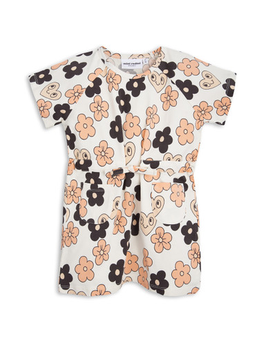 Mini Rodini Flowers Tee Dress, Off White