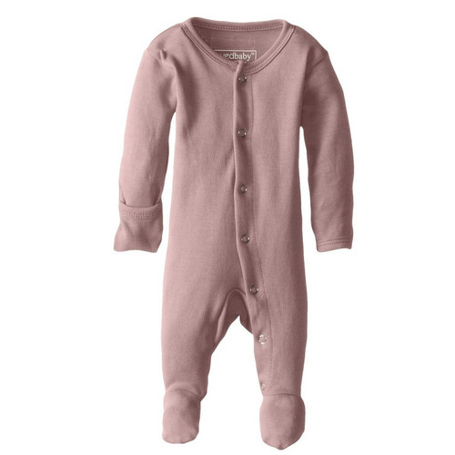 Organic Snap Footed Romper, Mauve