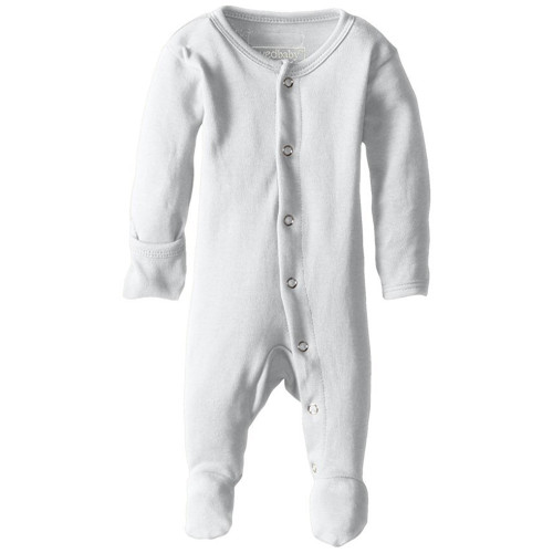 Organic Snap Footed Romper, White