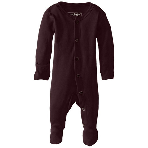 Organic Snap Footed Romper, Eggplant