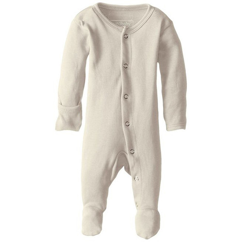 Organic Footed Romper, Beige