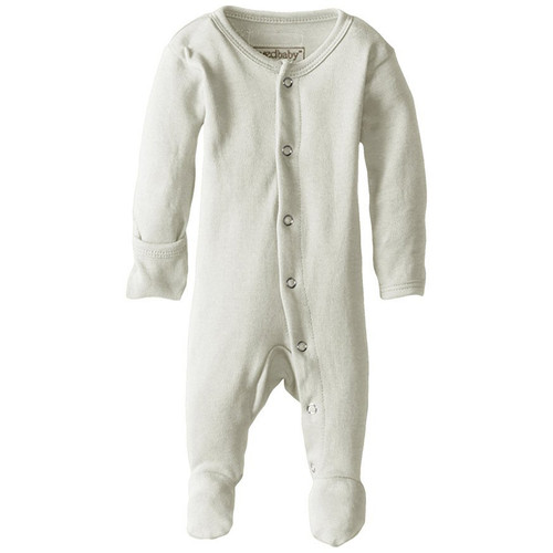 Organic Snap Footed Romper, Stone