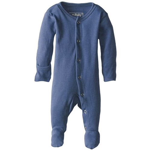 Organic Snap Footed Romper, Slate