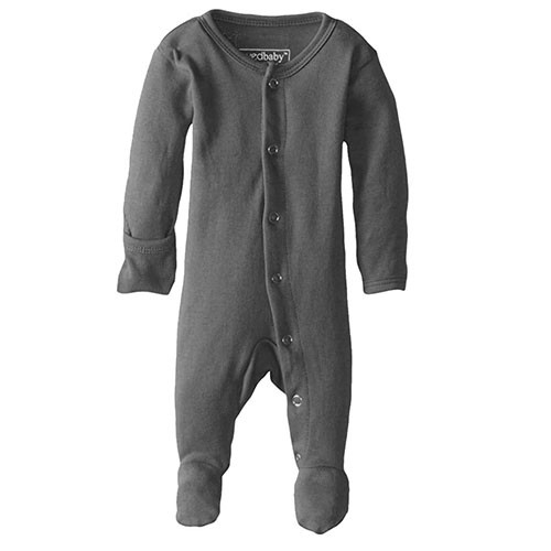 Organic Footed Romper, Dark Grey