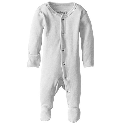 Organic Snap Footed Romper, Light Grey