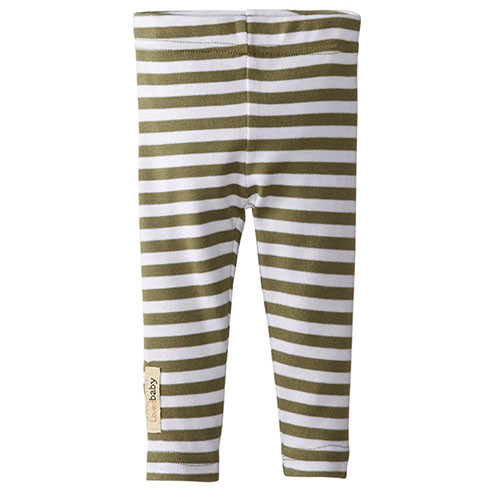 Organic Leggings, Sage/White Stripe