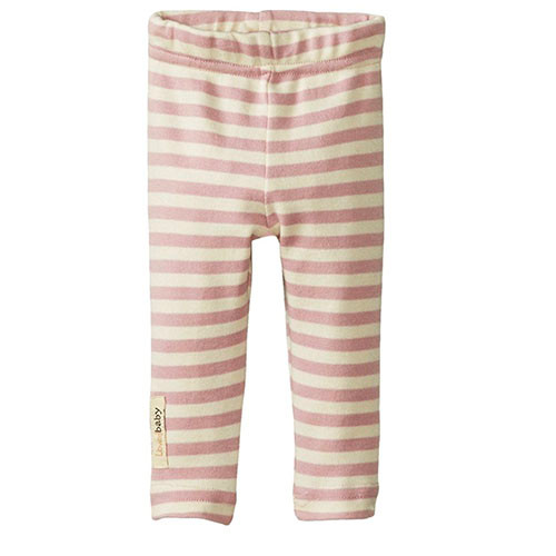 Organic Leggings, Mauve/Beige Stripe