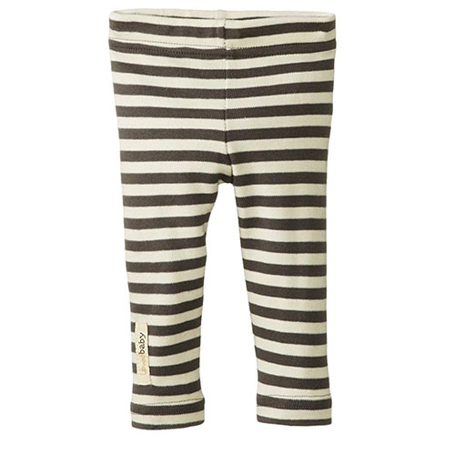Organic Leggings, Gray/Beige Stripe