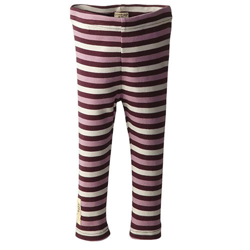 Organic Leggings, Eggplant Stripe