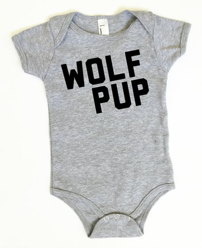 Wolf Pup Bodysuit, Grey