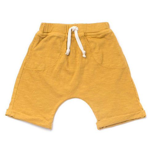 Organic Cotton Slub Lounge Shorts, Mustard