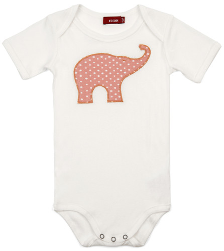 Rose Dot Elephant Applique Short Sleeve Bodysuit