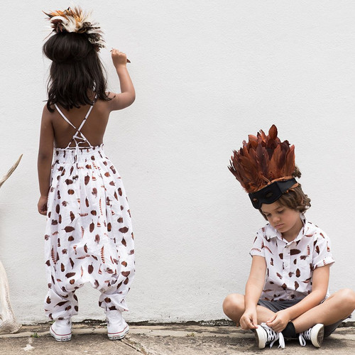 Feather Drum Harem Jumpsuit Feather Collector