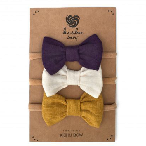 Bow Set, Purple + Ivory + Mustard