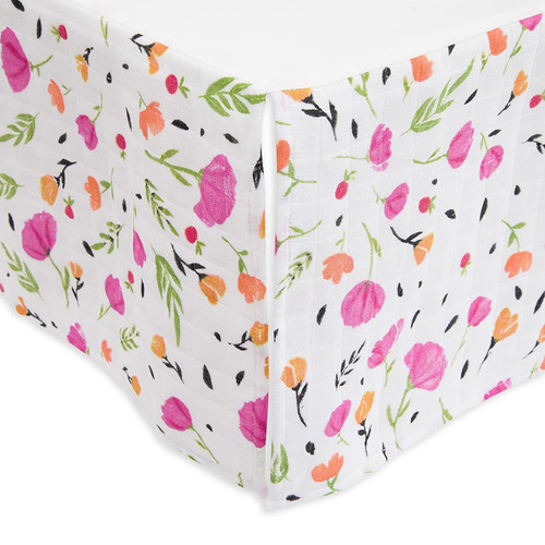 Cotton Crib Skirt, Berry and Bloom