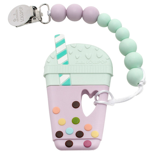 Silicone Teether Metal Clip Set, Bubble Tea Lilac Mint