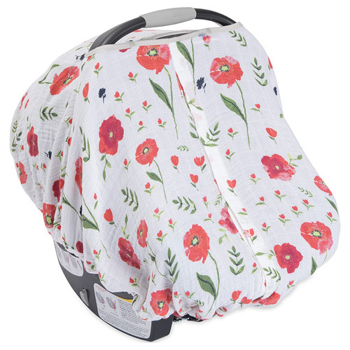 Cotton Muslin Car Seat Canopy, Summer Poppy