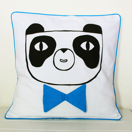 Happy Panda Cushion Cover, Blue