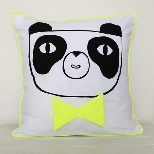 Happy Panda Cushion Cover, Yellow