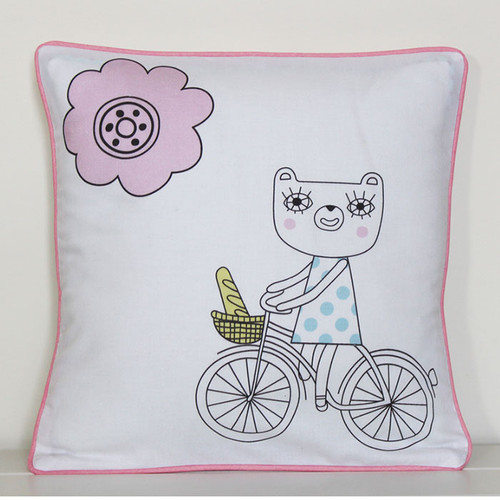Bears on Bikes Cushion Cover, Girl