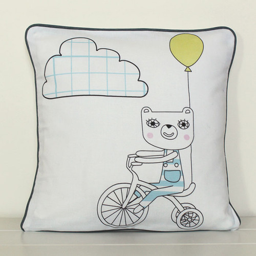 Bears on Bikes Cushion Cover, Boy