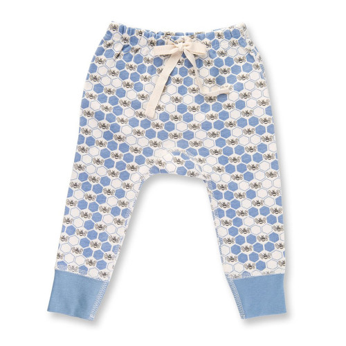 Organic Cotton Pants, Cornflower Blue Bees