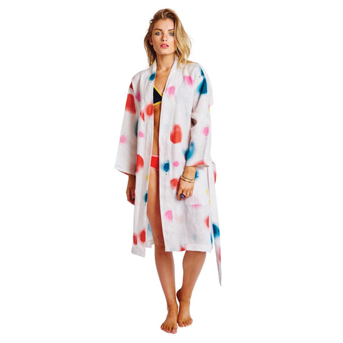 Sprayed Carnival Linen Bathrobe