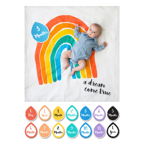 Muslin Blanket & Memory Card Set, Rainbow Baby
