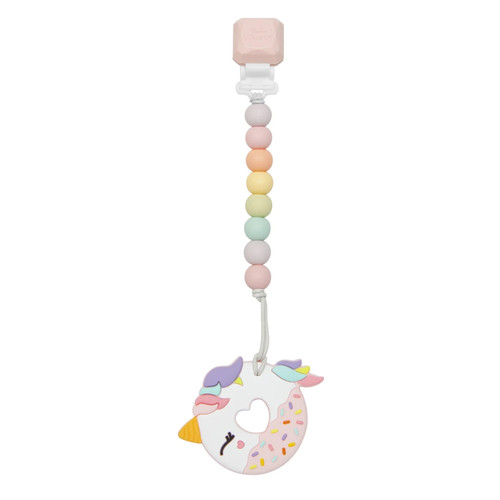 Silicone Teether Gem Clip, Unicorn Donut Cotton Candy