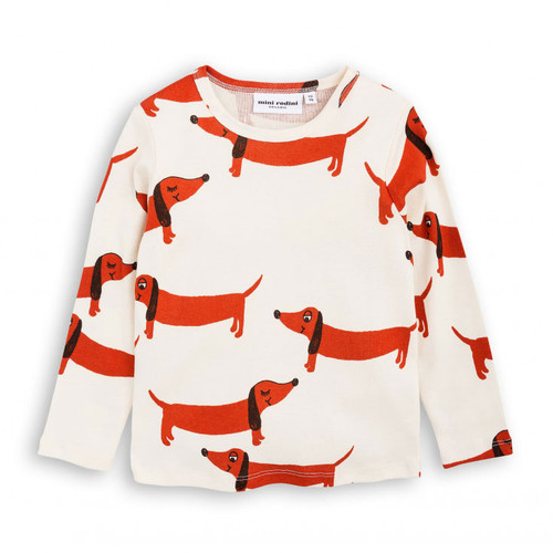 Mini Rodini Dog Long Sleeve Tee, Off White