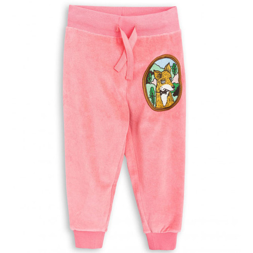 Mini Rodini Fox Velour Sweatpants, Pink