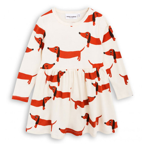 Mini Rodini Dog Long Sleeve Dress, Off White