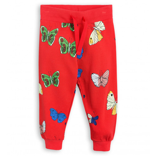 Mini Rodini Butterflies Sweatpants, Red
