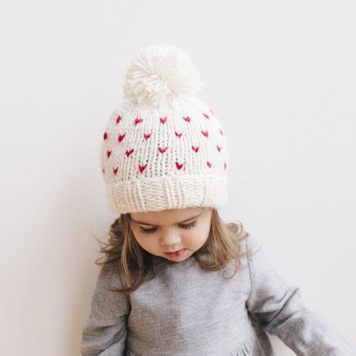 Tiny Hearts Knit Pom Hat, Cream/Red