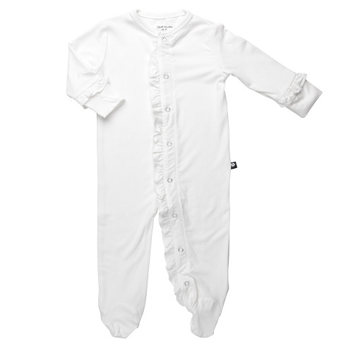 Bamboo Footed Romper, Ruffle White