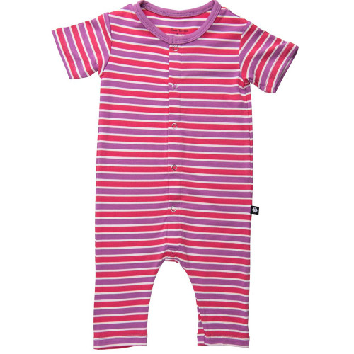 Bamboo Short Romper, Coral/Orchid Stripe