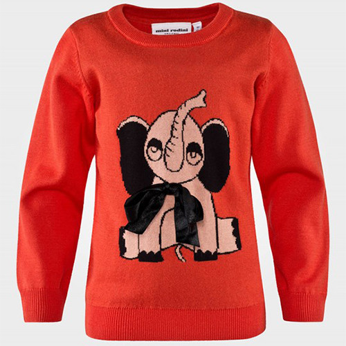 Mini Rodini Elephant Knit Sweater, Red