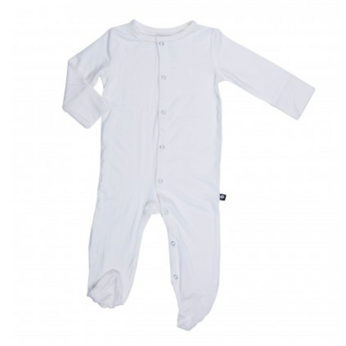 Bamboo Footed Romper, White
