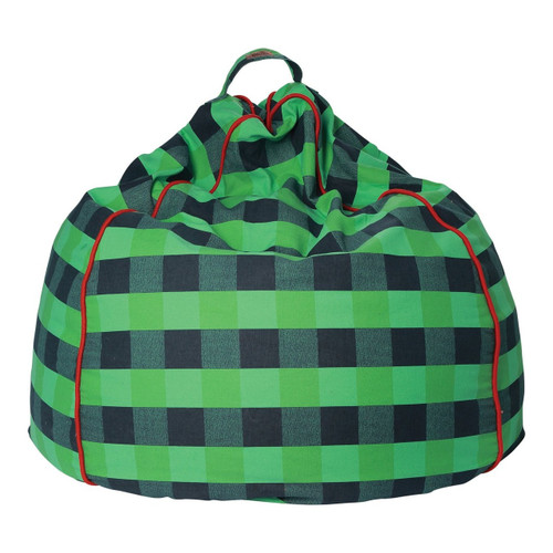 Green Tartan Canvas Beanbag