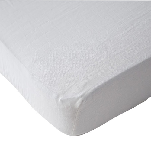 Cotton Muslin Fitted Crib Sheet, White
