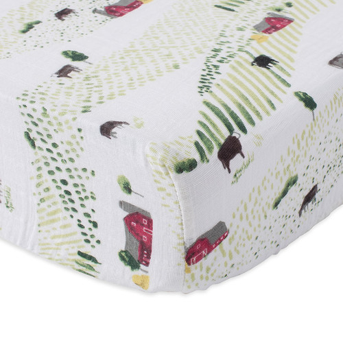 Muslin Fitted Crib Sheet, Rolling Hills