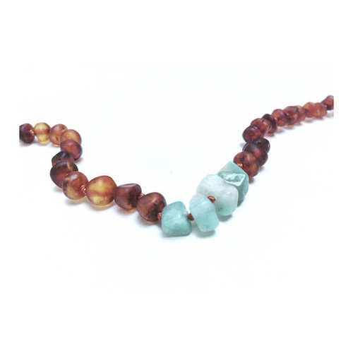 Raw Cognac Amber Teething Necklace, Sea Glass