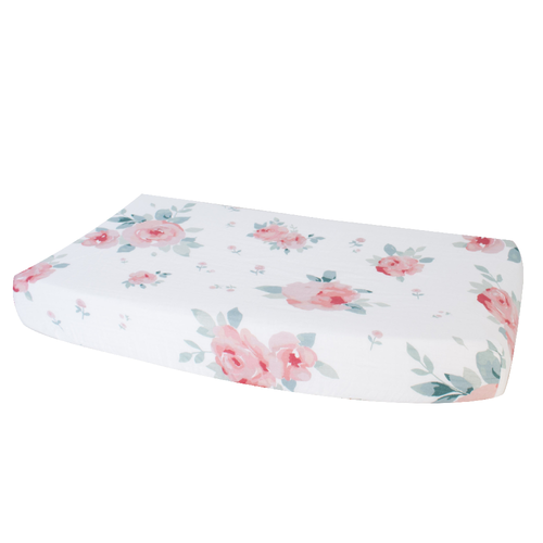 Muslin Changing Pad Cover, Rosy Dewdrops